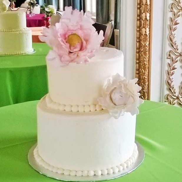 Cake showing smooth finished icing with a bead border