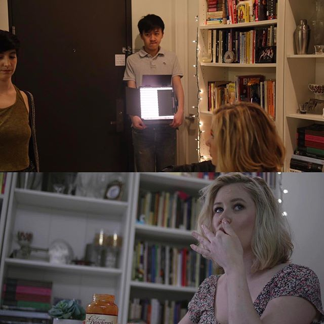 Behind the shot! Thank you @cheny689 for some good ol' Hollywooding. Had so much fun shooting #PizzaPityParty 🍕 #indiefilm #bts #lighting #shortfilm #LED #canon #c300 #filmmaking #film #cinematography #gaffer