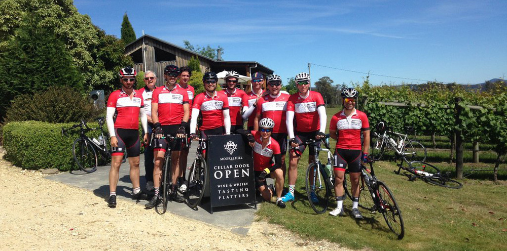 The 2015 Wine Peloton Tour of Tassie Crew stopping at Moores Hill Vineyard in Tasmania