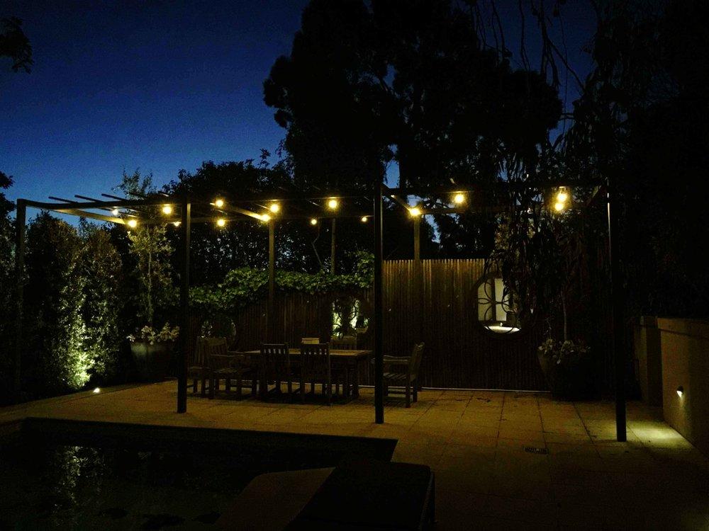 Festoon Lighting above an alfresco dining area