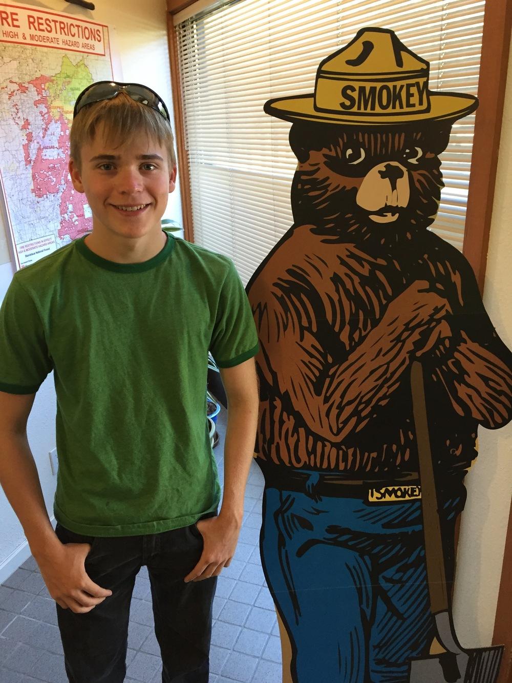 posing with Smokey