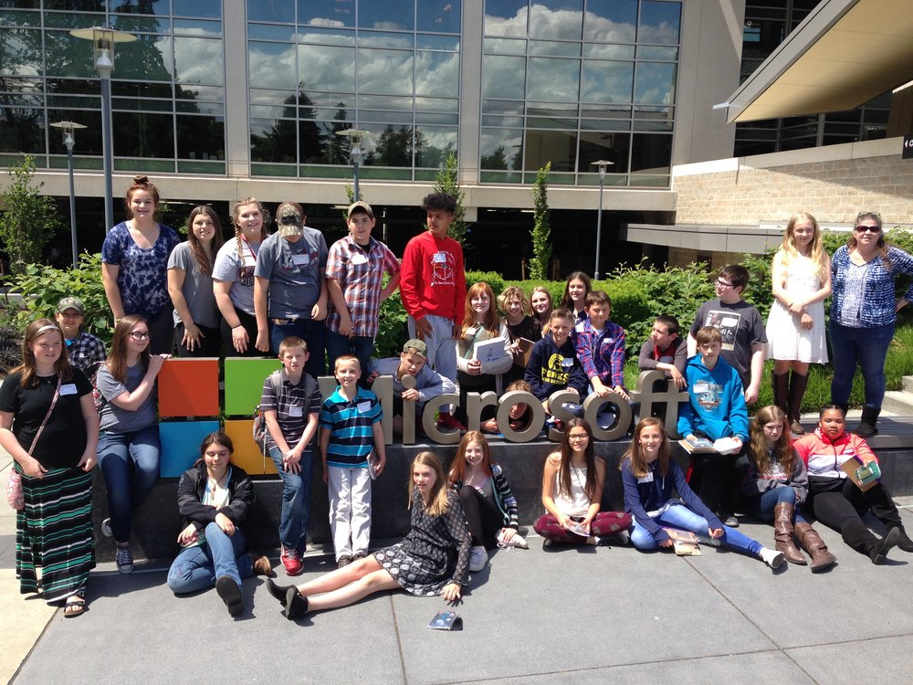 Middle school students enjoy a tour of the Microsoft campus in Redmond, WA where they were able to see some of the work spaces and projects of Microsoft employees.