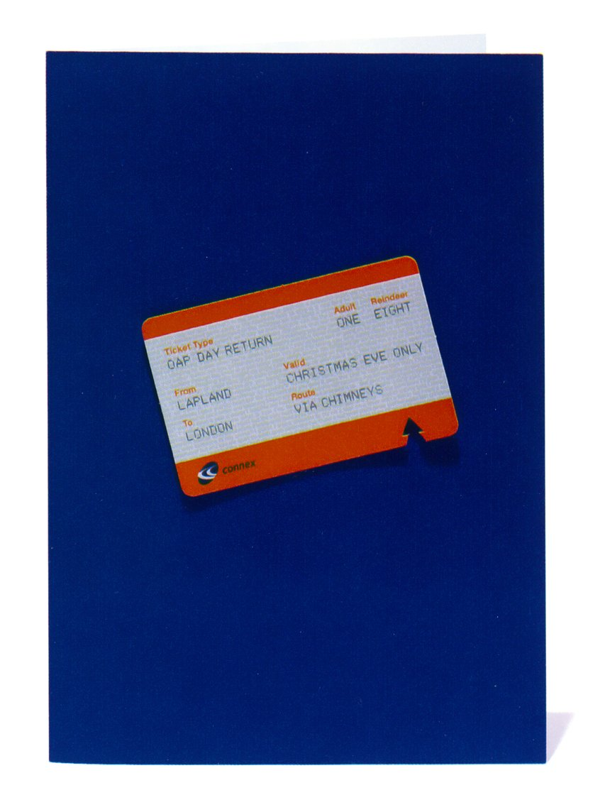 Travel pass for Connex South Eastern, with a hole punched tree by Johnson Banks