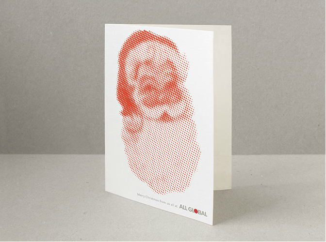 The red circle in the client's logo inspires a suitably dotty Santa by Rose