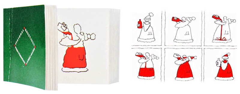 Flip book by Robinson Lambie-Nairn shows how Santa became red. 1982
