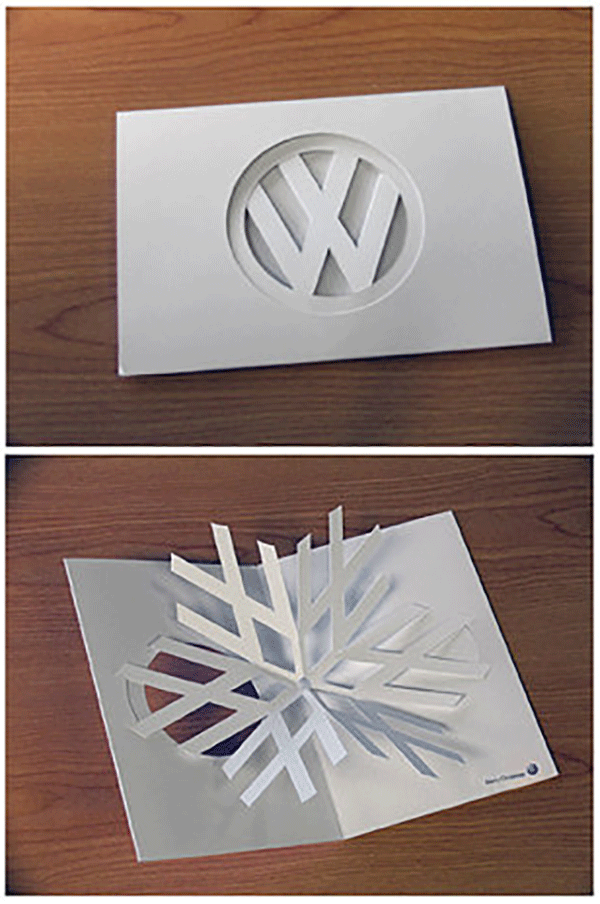 With some crafty paperwork the VW logo becomes a snowflake by DDB New Zealand