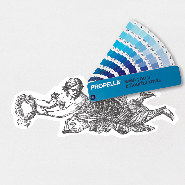 Giving an angel wings with the Pantone® colour fan. Propella 2012