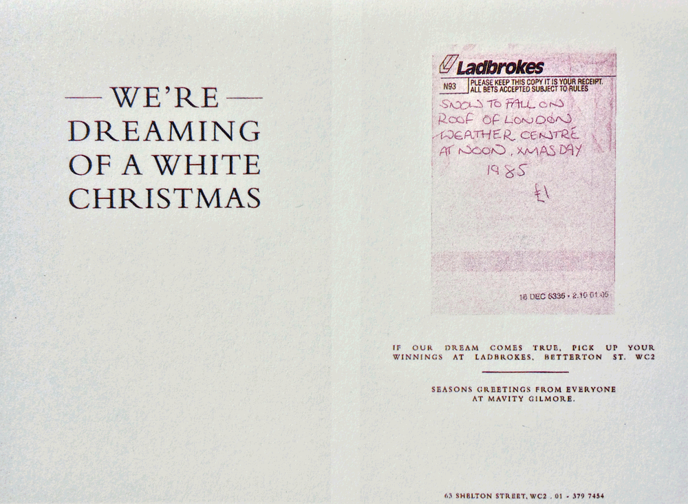 Betting on a white Christmas, by Mavity Gilmore 1985