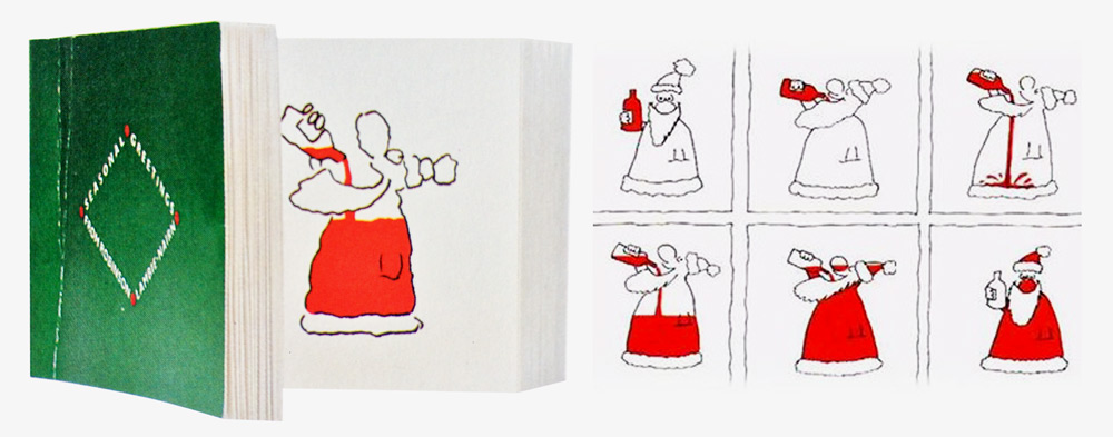 Flip book shows how Santa's coat became red –   Robinson Lambie-Nairn   1982