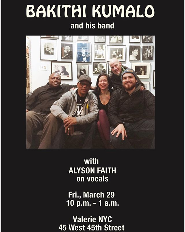 Playing with this awesome group led by @kumalobass tonight at Valerie NYC! Come by if you're around! @williamsmith389 @rodneygreendrums @alysonfaithxo