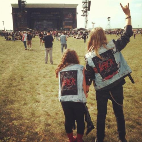 Metalheads at a Slayer concert, notice the denim.