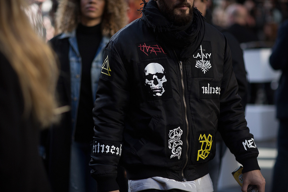 A fake patch jacket (technically a bomber) spotted during London's SS16 fashion week by Highsnobiety.com