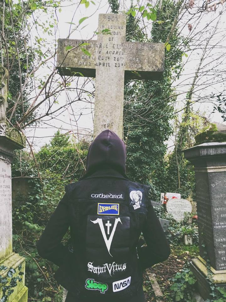 Erica Varone a local Londoner showing of her doom/stoner oriented patch jacket