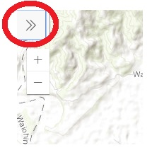 - To view the legend and turn layers on / off click the double arrow on the top left of the map (as circled in red above)