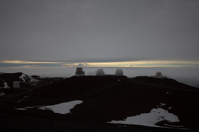 The Keck Observatory – and that white stuff's snow! Yes, snow …. in Hawai'i!