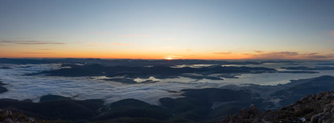 Hobart, fog over the Derwent and a beautiful sunrise beyond
