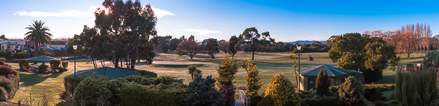 Looking out over the golf course on a beautiful, crisp, clear Tasmanian morning