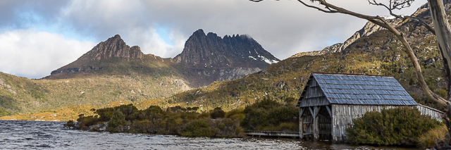 Cradle Mountain, Dove Lake and the much-photographed boat shed