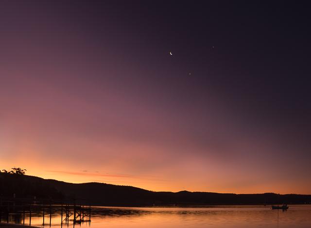Moon, Venus and Jupiter, shot at Triabunna