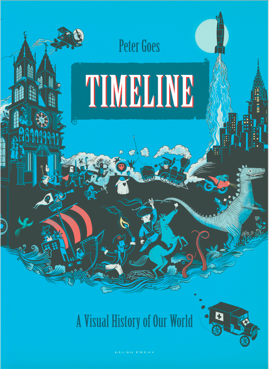 Timeline - a Visual History of Our World by  Peter Goes  ( Gecko Press )   A stunningly illustrated book about the history of the world. Each spread refers to one particular episode in the history of our planet, from dinosaurs up to our current decade. It is a really absorbing book and perfect for all little and big history buffs.   Get yours  here .