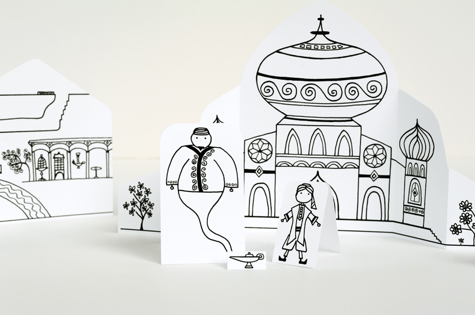 ALADDIN TOWN - FREE PRINTABLE - MADE BY JOEL.     We are huge fans of paper artist Joel and his charming paper scenes. This one is all about Aladdin and comes complete with a genie!   Download it here.