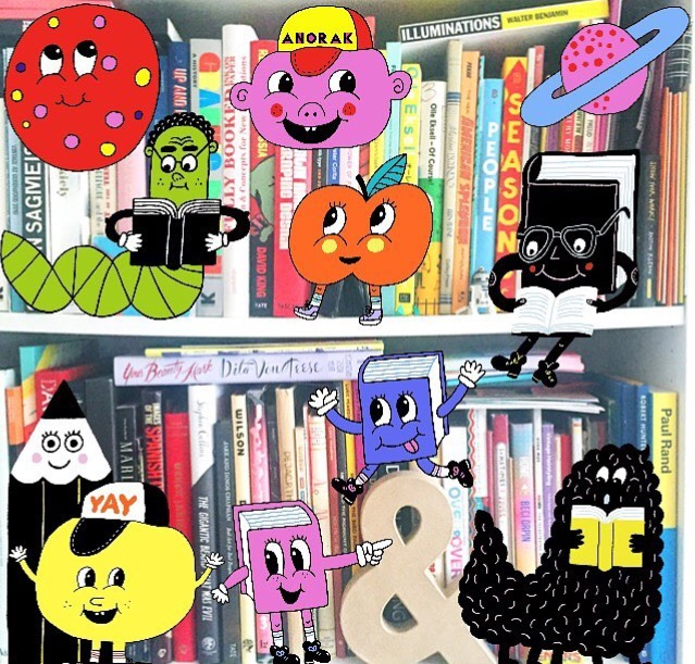 Our chief designer,  Mina Bach  decided to jazz up her book shelves with her Happy Stickers.