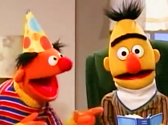 Sesame Street. Bert's Birthday, 2003. When Bert wanted peace and quiet on his birthday to read his book (The History of Oatmeal) and Ernie organised a noisy surprise party for him with a tap-dancing elephant. Watch it here.