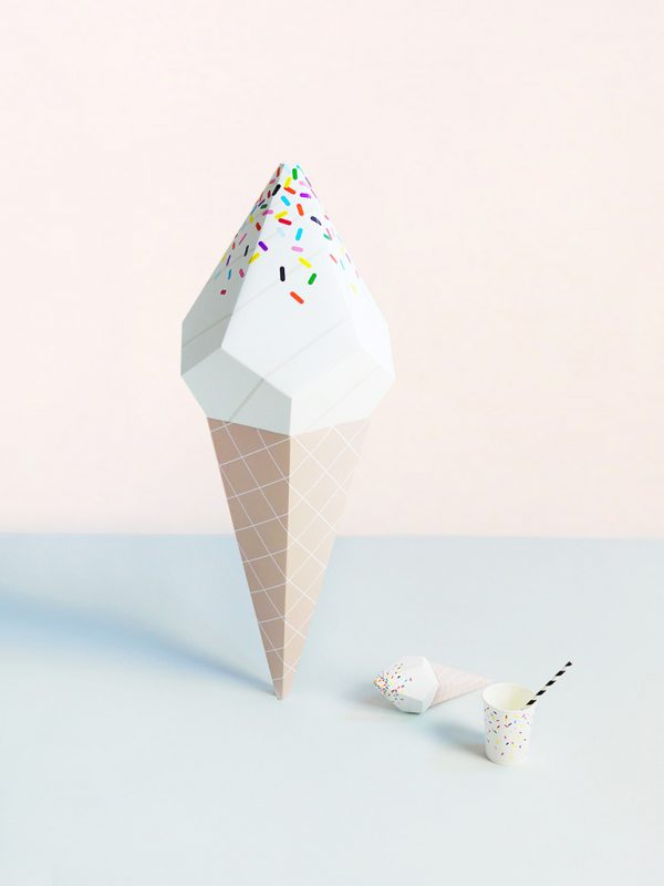 Giant ice cream paper sculpture available to buy from Moon Picnic.