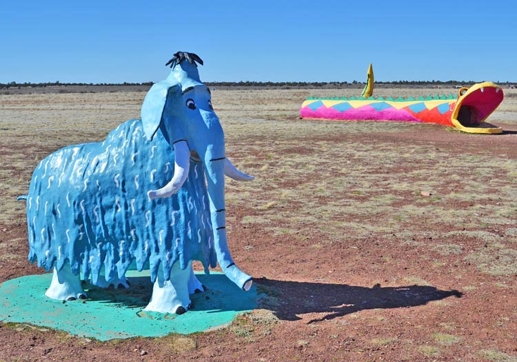 This dazzling blue beauty lives at the  The Flintstones Bedrock City  theme park in Arizona which opened in 1972. Flintstones fans will remember the modern stone-age family using a baby mammoth as a vacuum cleaner and an adult mammoth as a shower head.Photo by   Saskia Ericson .