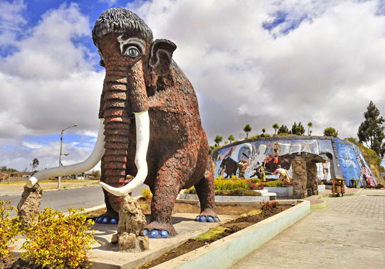 This concrete beauty, with spiffy blue pedicure, guards the entrance to  The Palaeontological Museum in Carchi, Ecuador ; an area where mastodon fossils were discovered in 1987.Photo courtesy   Museo Paleontologico Bolivar.