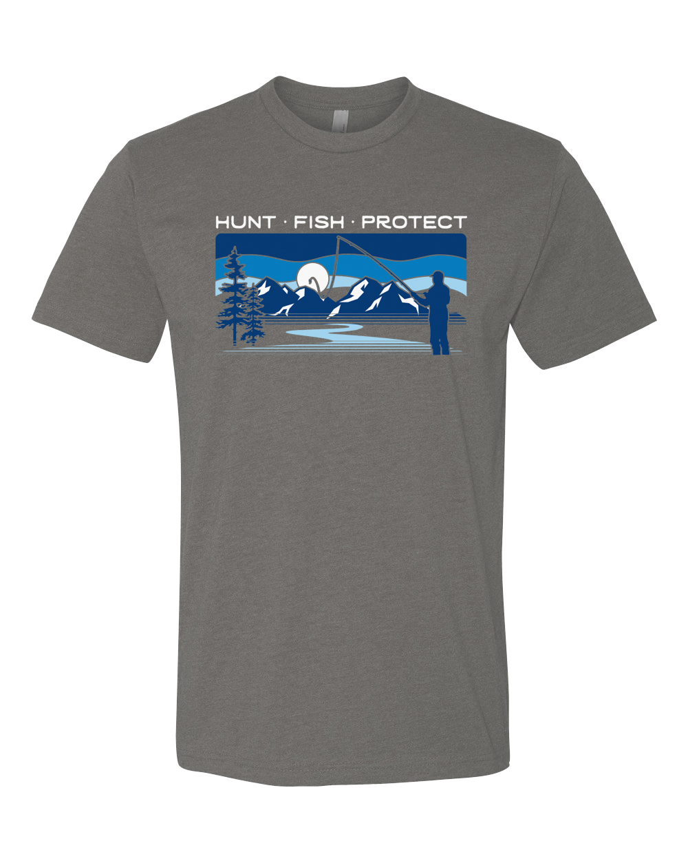 Hunt. Fish. Protect. is our yearly design which gives 15% back to Backcountry Hunters and Anglers for the life of the design. This years design takes inspiration from the Frank Church Wilderness and gives a nod to the many upcoming stream access fights we are bound to encounter.
