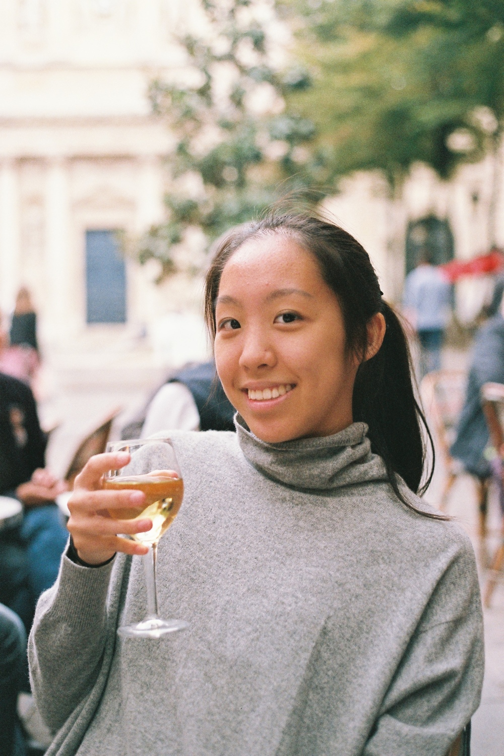C'est moi, enjoying some Chardonnay, BECAUSE I OFFICIALLY LIVE IN PARIS NOW!!!