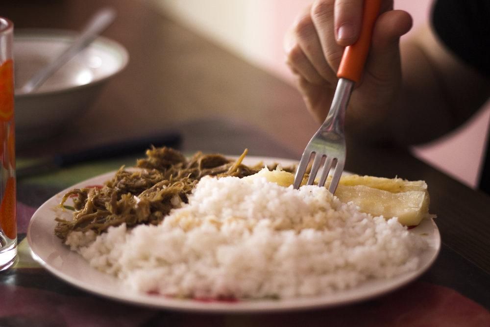 Dora's rice, yucca, and ropa vieja