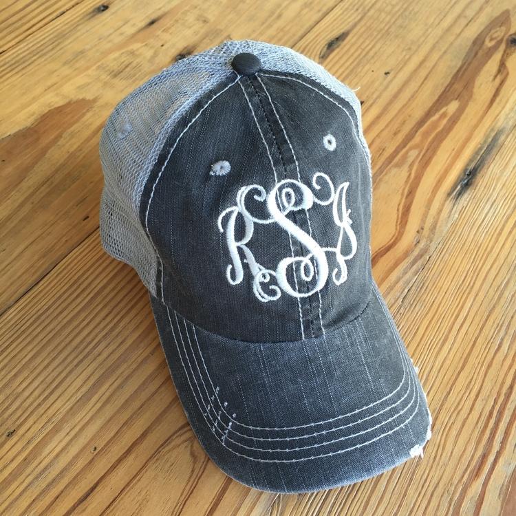 Grey Distressed Trucker Hat — Red Door Monograms   Gifts a9aa65f9d7d