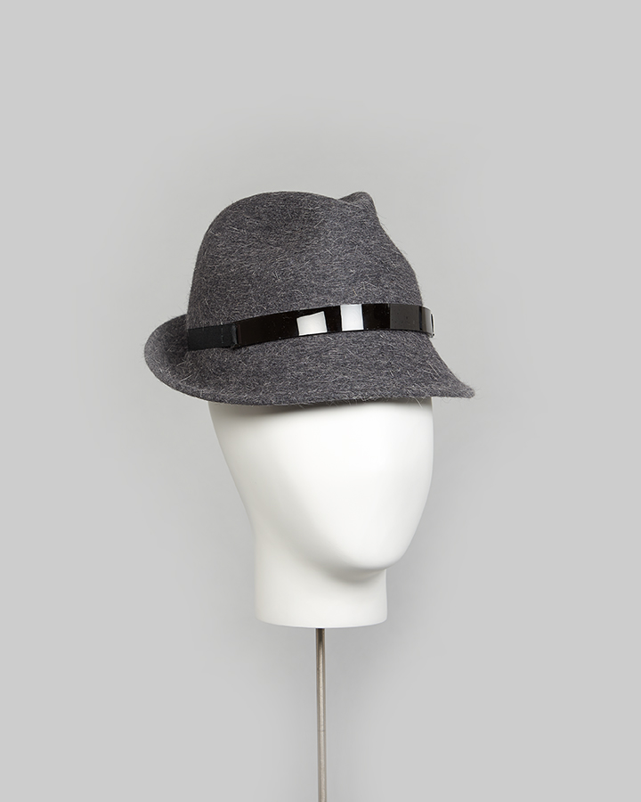 Grey Long Hair Felt Trilby