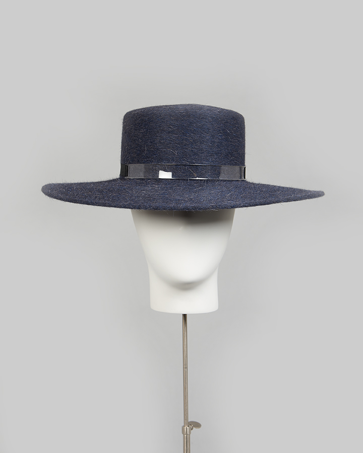Blue Mohair Straight Brim
