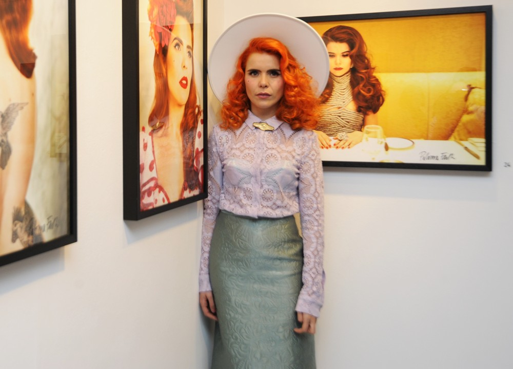 White Brim Hat - Paloma Faith - Faith in Art (Styled By Karl Willett)
