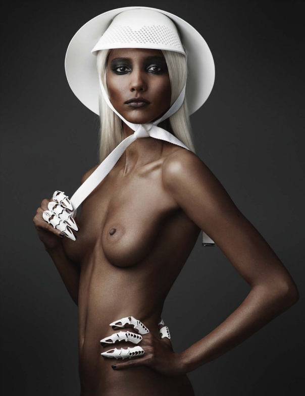 Tie Sun Hat shot by Mario Testino - Vogue Germany (Styled by Lori Goldstein)