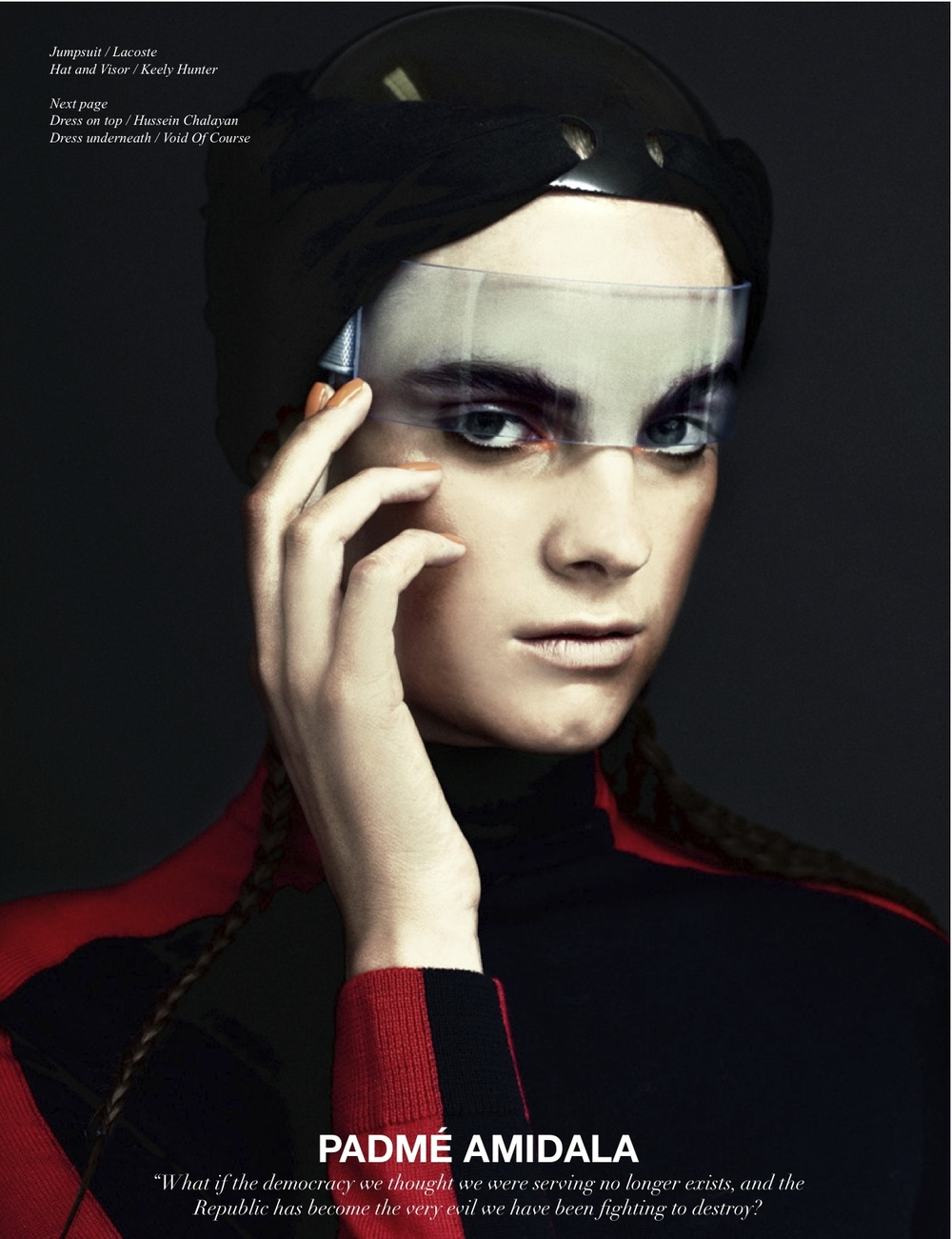 Black Turban & Blue UV Headband (worn as visor) - Schon Magazine (Styled by Anna Trevelyan)