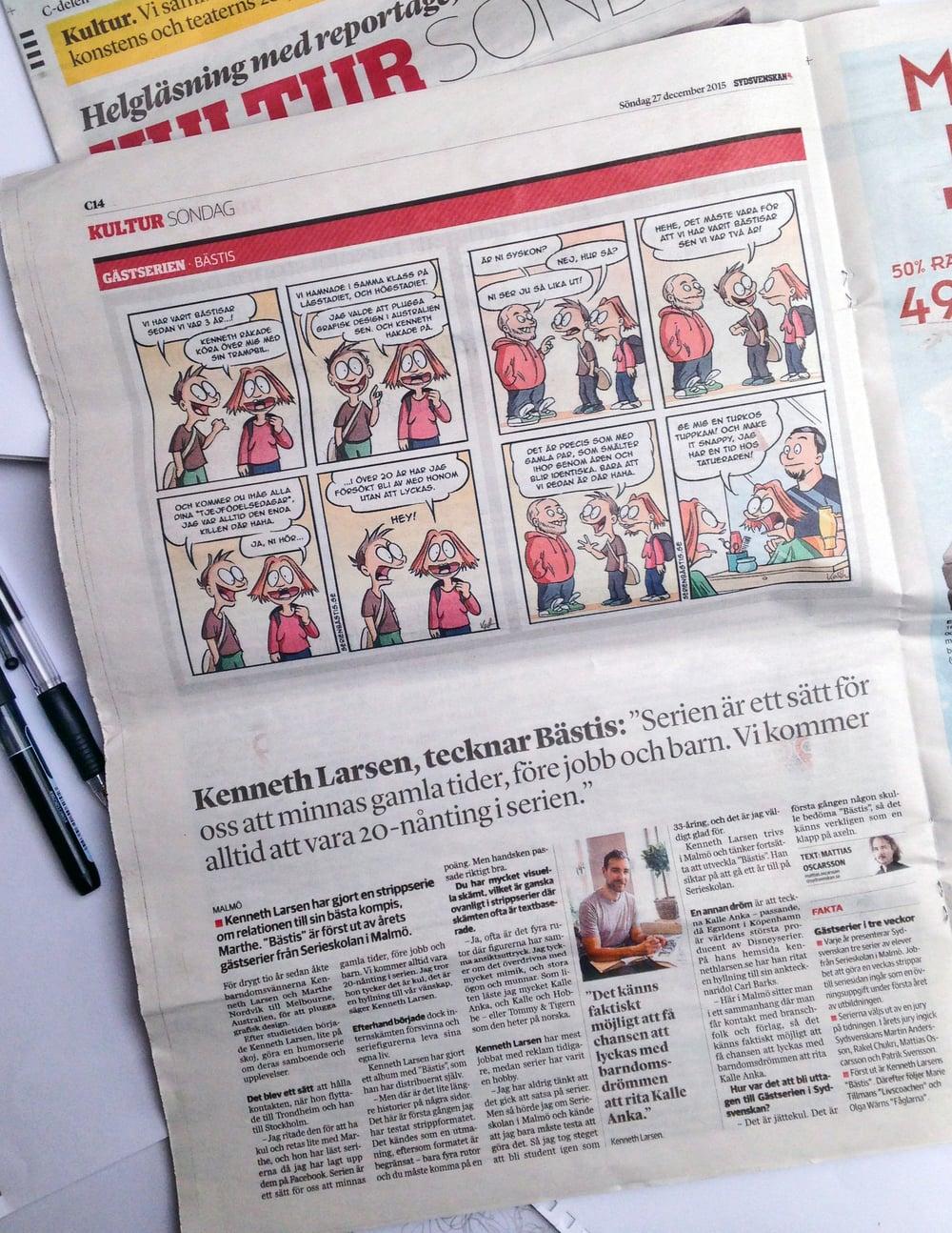 """""""Bästis"""" i Sydsvenskan, 27. december 2015."""