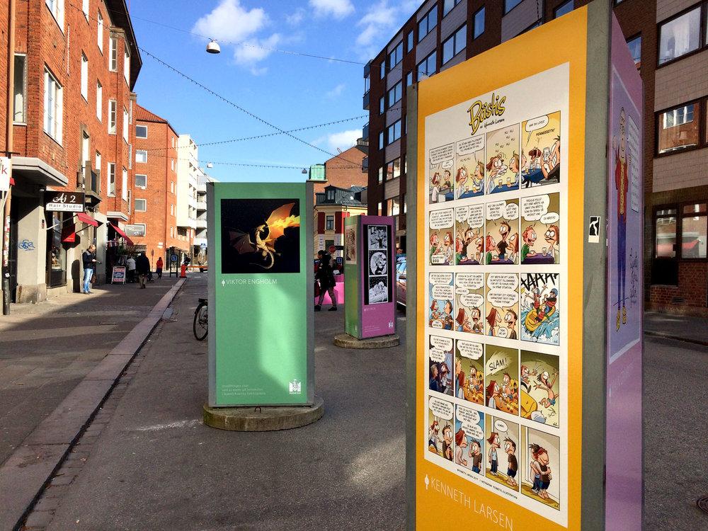 Serier på utställning, Malmö kulturstråk,Friisgatan.