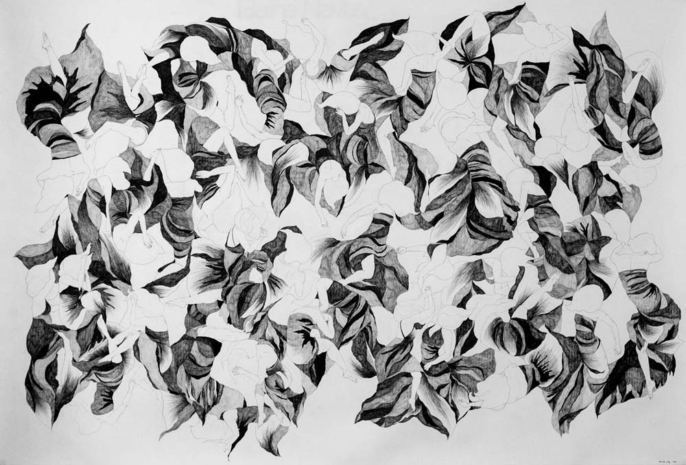 40 girls, 4x6ft, pencil on paper, 2016