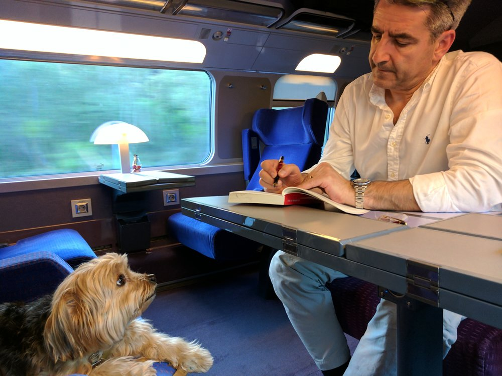 Danny watches Laurent work on the TGV Paris to Nice (SNCF)