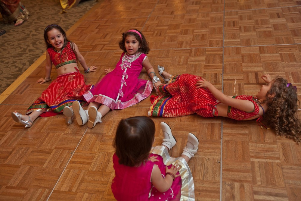 After a long night of dancing, these little girls were worn out!