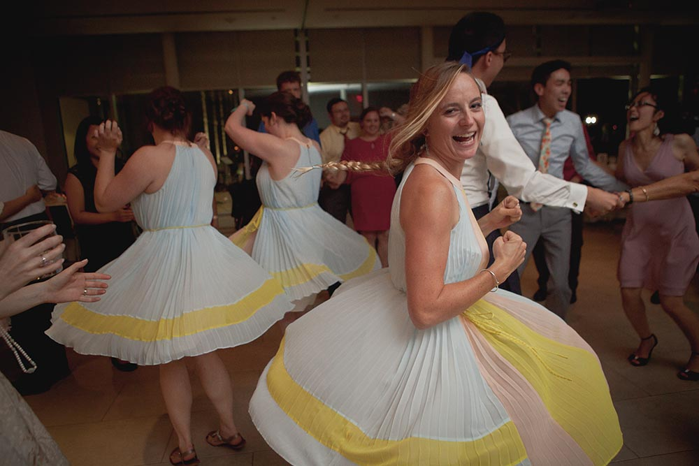 Edythe's sister leads the bridesmaids in a twirl-off!
