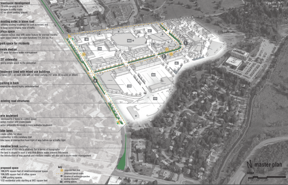 Figure 2: Kaitlin Campbell's Proposed Master Plan for Shoppingtown Mall & the Bordering Section of Erie Boulevard