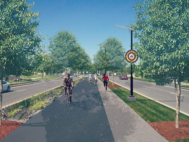 "This Wednesday evening (Tomorrow, 3/14) the @eriecanalmuseum_syracuse is hosting an open house on the NYSDOT's plans for Erie Boulevard, re-envisioned as the Empire State Trail corridor! This is a ✨huge✨ moment for us; we'll be there to review the draft plans and see how closely their project ties in with our ""Elevating Erie Concept Plan"" as imagined in the above image. Pop in between 5-7pm at the Erie Canal Museum in Downtown Syracuse to weigh in! #closethegap #empirestatetrail  #eriecanal . . . The above image is the concept graphic commissioned from @altaplanningdesign in the Elevating Erie Concept Plan document available on our website. Link in profile!"
