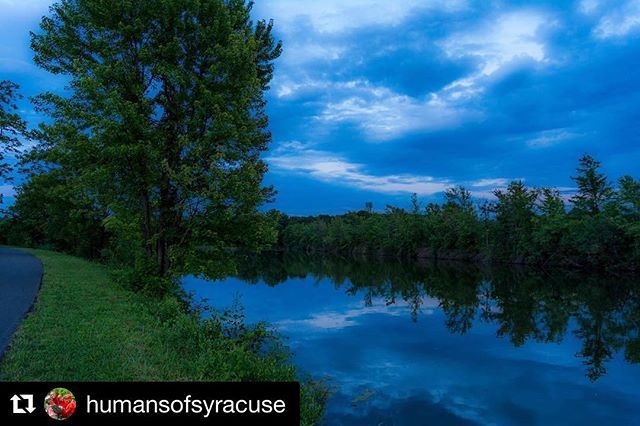 Love this scene from the Erie Canalway Trail in DeWitt by the inimitable @humansofsyracuse !  #Repost @humansofsyracuse (@get_repost) ・・・ Night falls on the Erie Canal.  #eriecanaltrail humansofsyracuse #eriecanal  #elevatingerie #closethegap #cycletheerie #eriecanaltrail #thisisdewitt
