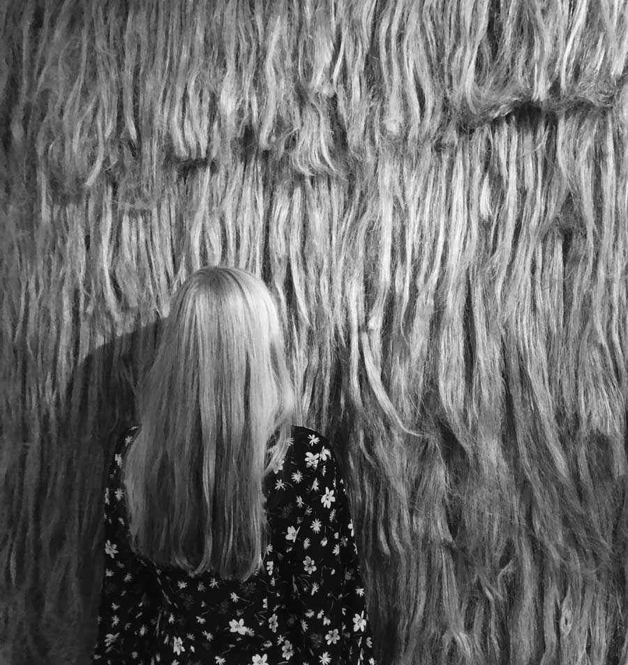 'In Situ' performance 'Hair to Hair' by one of our friends visiting the exhibition.