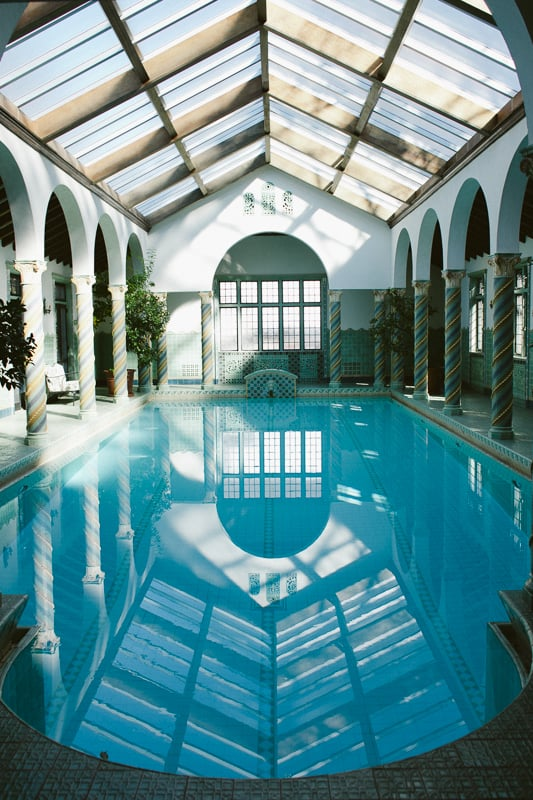 The famous fountain room at the Pleasantdale Chateau, a wonderful indoor pool.
